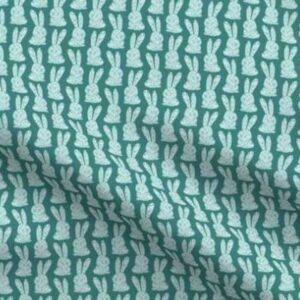 Fabric & Wallpaper: Block Print Bunnies, Teal
