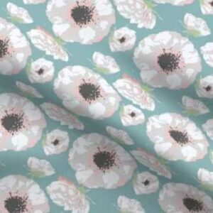 Fabric & Wallpaper: Easter Spring Flowers, Pink, Teal