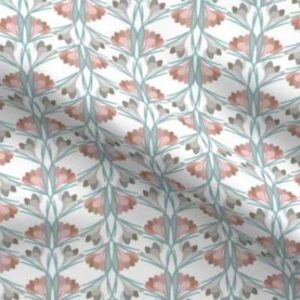 Easter fabric with spring crocuses in pink and teal