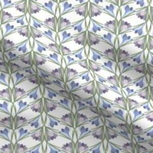 Easter fabric with purple crocuses
