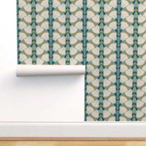 Fabric & Wallpaper: Art Deco Trumpet Fan Flowers in Teal