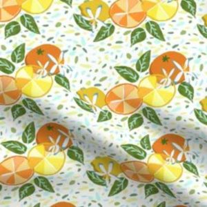 Fabric & Wallpaper: Citrus Fruit and Flowers on Terrazzo
