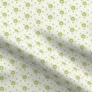 Fabric & Wallpaper: Ditsy Flower Mosaic, Green, White