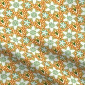 Fabric & Wallpaper: Star Flower Mosaic, Orange