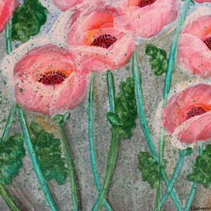 Two Paintings on Canvas of Poppies in Pink Tones | Medium