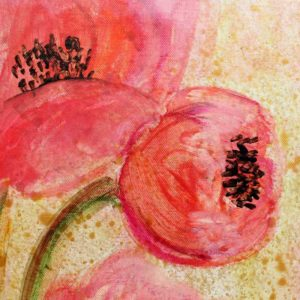 Painting on 2 Canvases of Poppies in Sunset Tones | Small