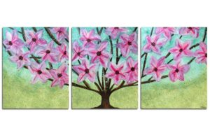 Tropical Tree Painting on 3 Canvases | Large
