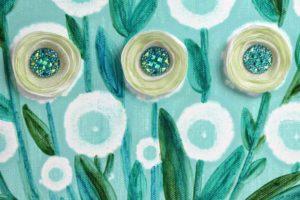 Desert Flower Art on Canvas in Green, Robin's Egg Blue – Small