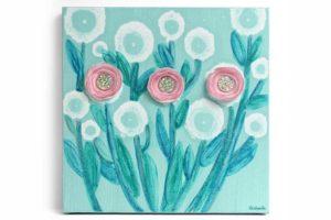Desert Flower Art on Canvas in Pink, Robin's Egg Blue – Small
