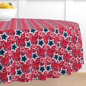 Fabric & Wallpaper: Navy Stars and Fireworks on Red