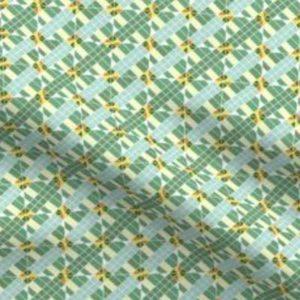 Fabric & Wallpaper: Diagonal Check Mosaic, Green,