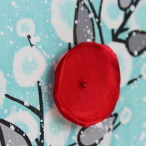 3D Flower Artwork on Canvas in Aqua, Red – Mini