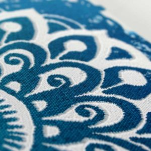 Textured Mandala in Blue, White – Small