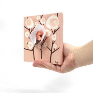 3D Orchid Artwork on Canvas in Peach – Mini