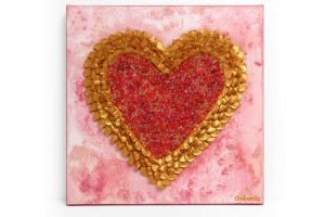 Sculpted Heart Painting on Canvas in Pink, Gold – Small