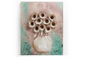 Rustic Still Life Painting of Orchids in Vase, Teal, Brown  – Small