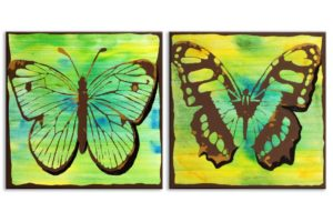 Bright Butterflies in Yellow, Green – Small
