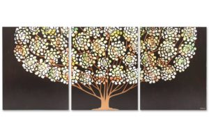 Floral Tree Painting Triptych, Earth Tone, Copper | Large