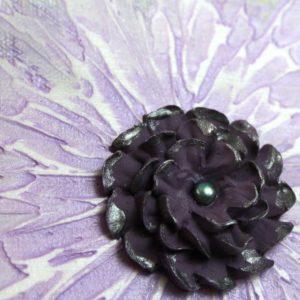 3D Zinnia Flower Artwork on Canvas in Purple, Gray – Mini