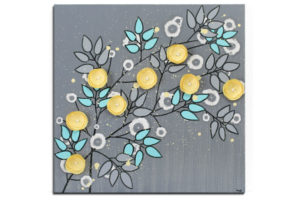 Canvas Art Flower Branch in Gray, Yellow, Aqua – Square