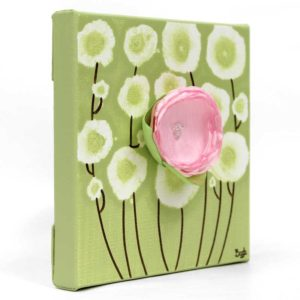 3D Flower Artwork on Canvas in Pink, Green – Mini