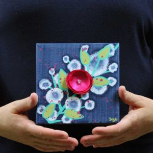 3D Flower Artwork on Canvas in Blue, Green, Pink – Mini