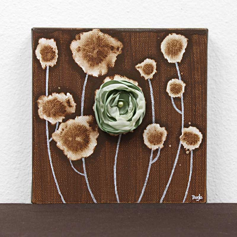 3D Flower Artwork on Canvas in Green, Brown – Mini