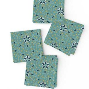 Fabric & Wallpaper: Art Deco Triangles and Flowers in Teal