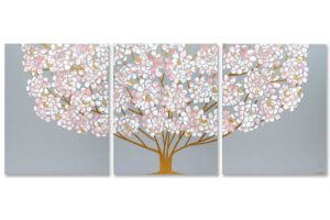 Floral Tree Painting Triptych, Pink, Gray, Gold | Large
