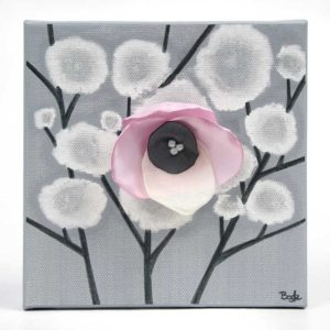 3D Orchid Artwork on Canvas in Pink, Gray – Mini