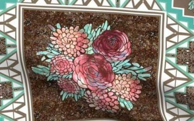 Boho mod roses on a wholecloth quilt fabric