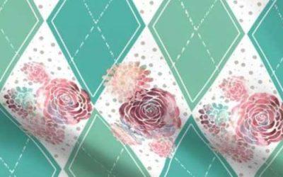 boho style roses on a teal argyle print