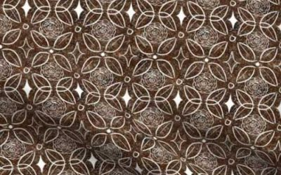 Brown stone inlay print of roses and leaves