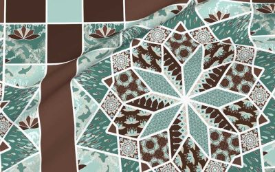 Star quilt with lotus blossoms in green and brown