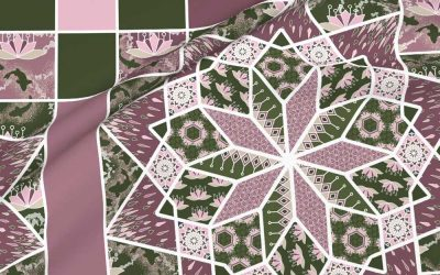 Star quilt with lotus blossoms in green and pink